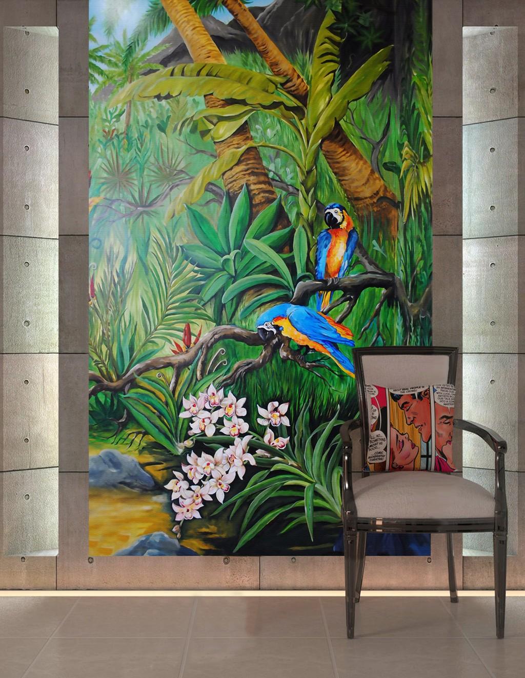 Papier Peint Avec Perroquet paysage tropical format vertical - les perroquets dans la jungle avec les  orchidées