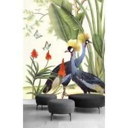 Papier peint d'artiste format vertical - Oiseaux tropicaux sous bananier avec papillons