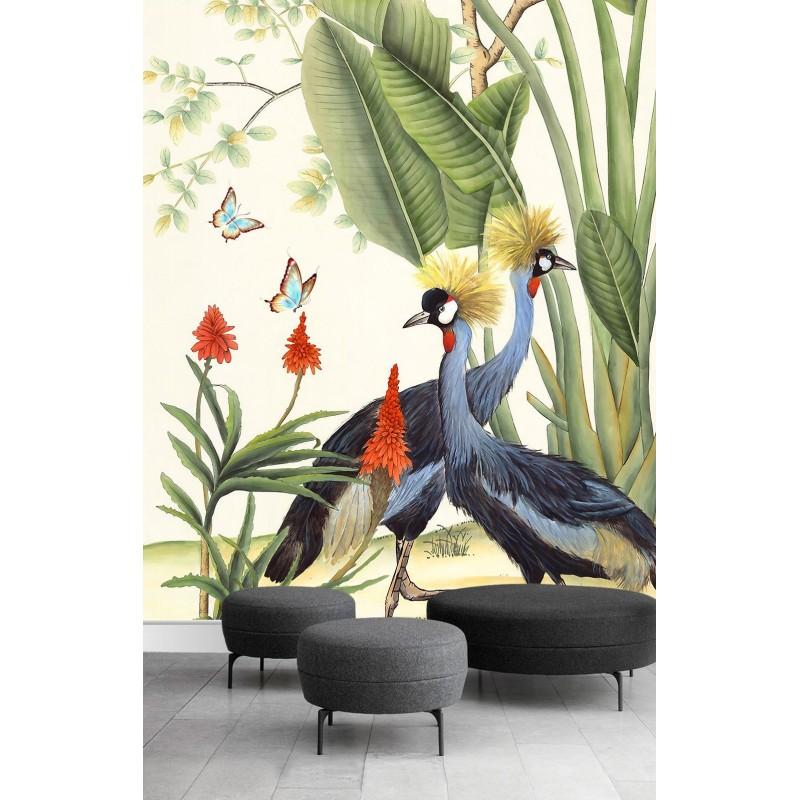 Poster Oiseau Exotique Plante Tropicale Grue Bananier Papier Peint