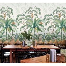 Paysage de la jungle - Singe sur bananier, perroquet sur arbre, oiseau de paradis, fleur exotique dans le sous bois