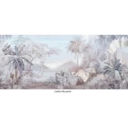 Papier peint panoramique aspect ancien - Paysage jungle dans la brume couleur légère