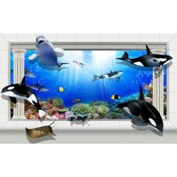 Papier peint 3D-Fond marin-Les orques