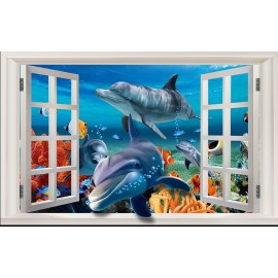 Trompe l'oeil effet 3D - Paysage fond marin - Dauphins sortent de la fenêtre 2