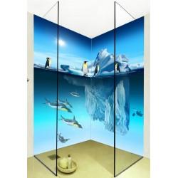 Panneau mural décoratif salle de bain douche - Pingouins sur banquise