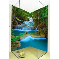 Panneau mural cabine de douche - Perroquets survolent au dessus de chute d'eau