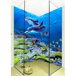 Panneau mural décoratif salle de bain douche - Paysage fond marin - Dauphins et poissons