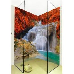 Panneaux muraux salle de bain douche - Chute d'eau dans la forêt d'automne