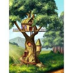 Dessin pour enfant paysage féerique - Cabane dans l'arbre géant