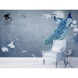 Papier peint asaitique zen fleurs et oiseaux - Paons et fleurs de mei sur fond bleu