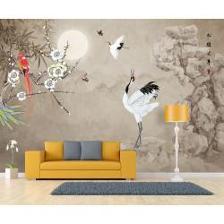 Paysage asiatique fleurs et oiseaux sur fond marron clair - Grue du Japon sur le rocher dans la nuit