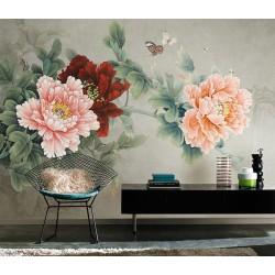 Peinture asiatique ancienne - Paysage gris avec pivoines rouges roses et papillons, abeilles