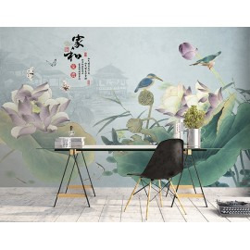 Tapisserie murale asiatique zen - Paysage avec lotus violets, oiseaux et papillons