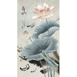 Peinture à l'encre de Chine fleur zen format vertical - Lotus roses et poissons noirs