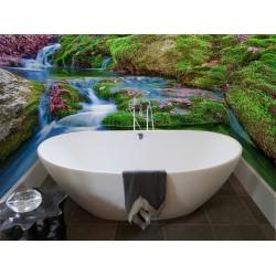 Décoration showroom salle de bain mur baignoire - Cascade bleue et la mousse
