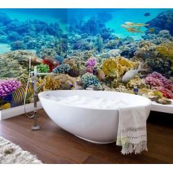 Panneau étanche décoratif cabine de douche mur baignoire - Paysage fond marin mer tropicale récif corallien