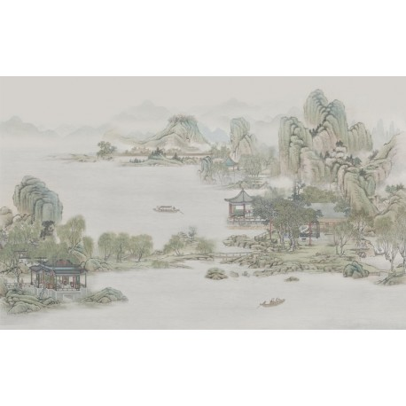 Peinture l 39 encre de chine paysage zen lac montagne papier peint sol 3d - La boutique du jardin ...