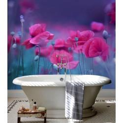 Dalle murale salle de bain en PVC souple imprimé photo réaliste - Coquelicots rouges sur fond bleu violet