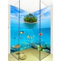 Lambris PVC 3D imprimé photo réaliste cabine de douche - Ile verte au milieu d'océan et poissons tropicaux