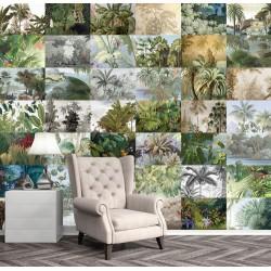Papier peint d'artiste format panoramique - Mosaïque de paysage tropical