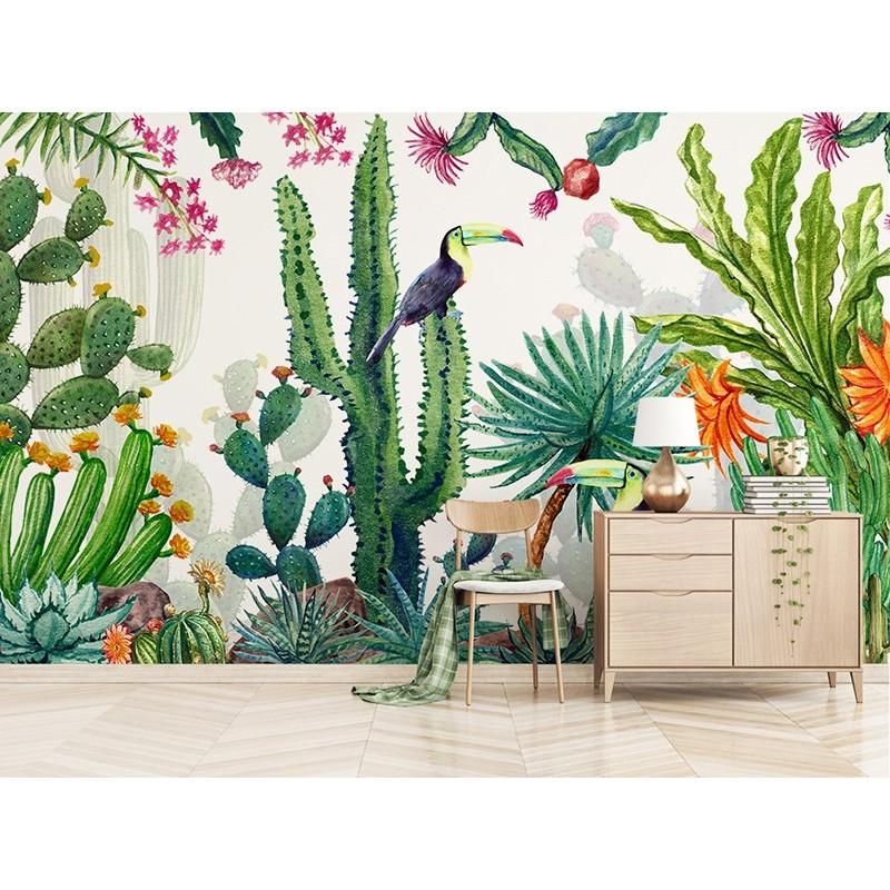 Tapisserie Design Dartiste Plante Oiseau Tropical Cactus Toucan