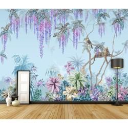 Tapisserie florale végétation de la jungle, fond bleu pastel - Toucan et panthère sur l'arbre de glycine tropicale