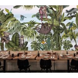 Animaux et oiseaux dans la réserve naturelle - Paresseux, singe, ornithorynque, perroquet, toucan, avec bananier et palmier