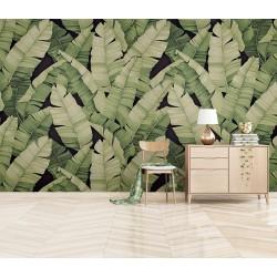 Papier peint vintage mur végétal - Feuilles de bananier sur fond noir