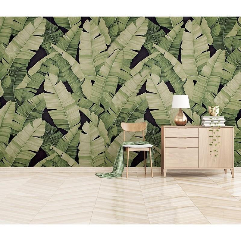 Panneau Mural Feuillage Plante Tropicale Tapisserie Fond Noir