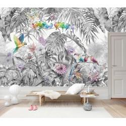 Tapisserie tropicale plantes, fleurs et oiseaux - palmier, bananier, philodendron, fleur de cactus orchidée, perroquet et toucan