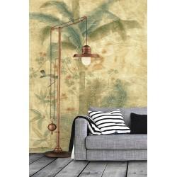 Papier peint tropical rétro vintage effet sépia - Bananier, fougère et oiseau, format vertical