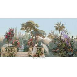 Paysage panoramique oiseaux exotiques - Paons blancs avec perroquets, flamants roses et cygnes dans le jardin