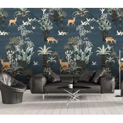 Papier peint traditionnel animaux et oiseaux - Cerfs et oies dans la forêt, sur fond bleu