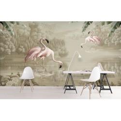 Panneau mural panoramique oiseau tropical - Flamants roses dans la réserve naturelle, effet sépia