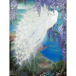 Papier peint d'artiste ton bleu fleur et oiseau - Paon blanc sur glycine au bord de l'eau, format vertical