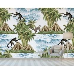 Paysage panoramique animaux et plante tropicale - Singes dans la jungle luxuriante