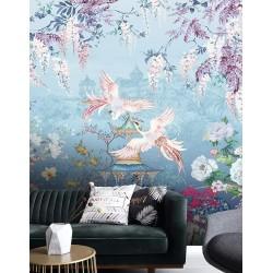 Jardin floral et oiseau mythique - Phénix s'envolent, palais entouré de glycine, pivoine, orchidée et palmier
