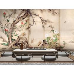 Estampe japonaise 6 volets sur fond beige - Les canards mandarins et les fleurs