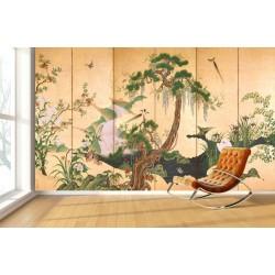 Estampe japonaise 6 volets sur fond sépia - Les fleurs et les oiseaux célèbrent le printemps