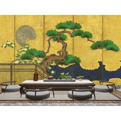 Peinture japonaise ancienne 6 volets fond jaune doré - Bonsaï géant et les canards