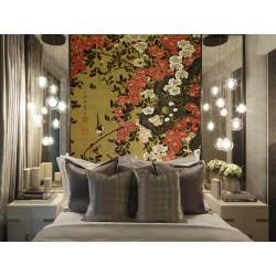 Panneau vertical chinoiserie vintage - Fleurs rouges blanches et oiseaux sur fond jaune sépia