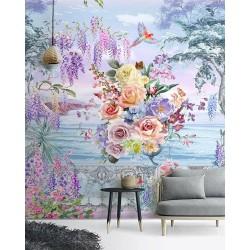 Balcon fleuri au bord de la mer - Bouquet de fleurs, glycine et perroquet