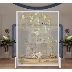 Toile paravent semi-transparente, cloison mobile zen asaitique