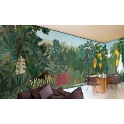 Panneau mural grand panoramique XXXL paysage de la jungle - Chasse dans la nuit et la fontaine