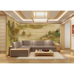 Paysage asiatique grand format panoramique XXXL - Groupe de bâtiment traditionnel au bord de la rivière