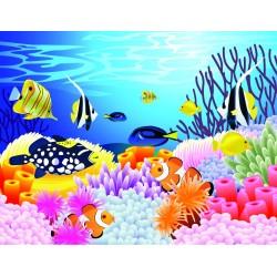 Papier peint chambre bébé - Paysage fond marin avec les poissons