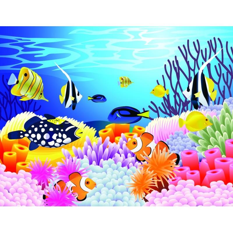 D coration chambre b b paysage fond marin poisson papier peint sol 3d - Papier peint chambre bebe ...