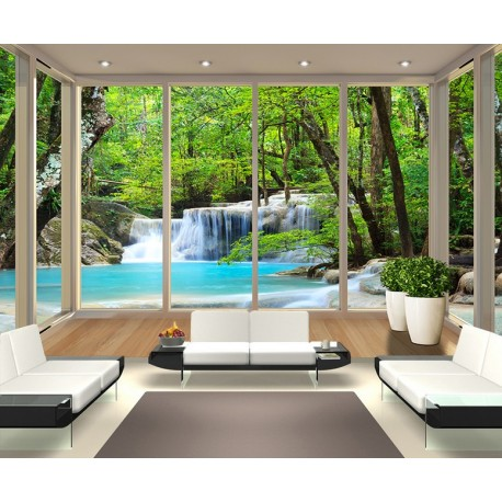 Window Waterfall In The Forest Scenery Wall Mural