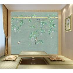 Peinture asiatique zen fleurs et oiseaux sur fond vert - La glycine et les oiseaux