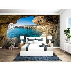 Paysage trompe l'œil 3D trou dans le mur - Côte littorale vue depuis la grotte