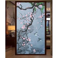 Fleurs de cerisier et oiseaux dans la nuit format vertical, ton bleu
